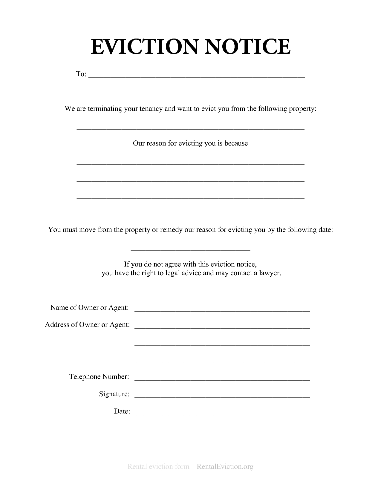 eviction warning letter template example-Free Print Out Eviction Notices 14-f