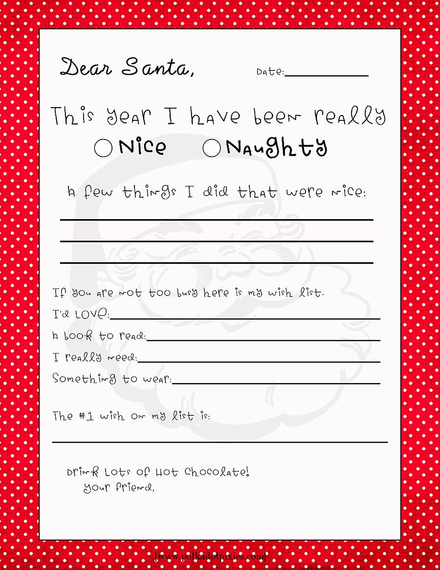 Letter to Santa Template Free Printable - Free Printable Letter to Santa From Polka Dot Pixies