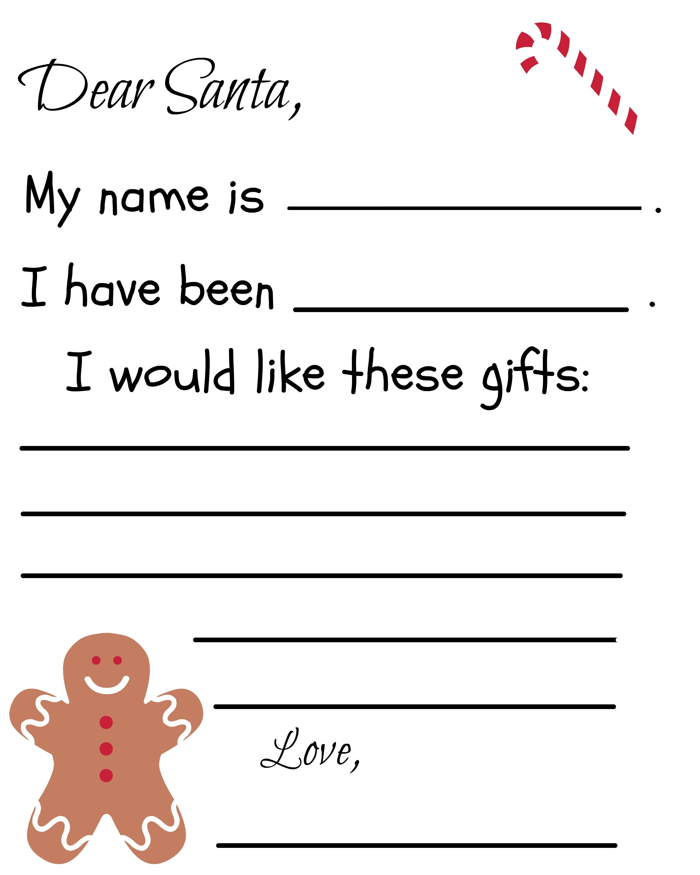 Letter to Santa Template Free Printable - Free Printable Santa Letter Template