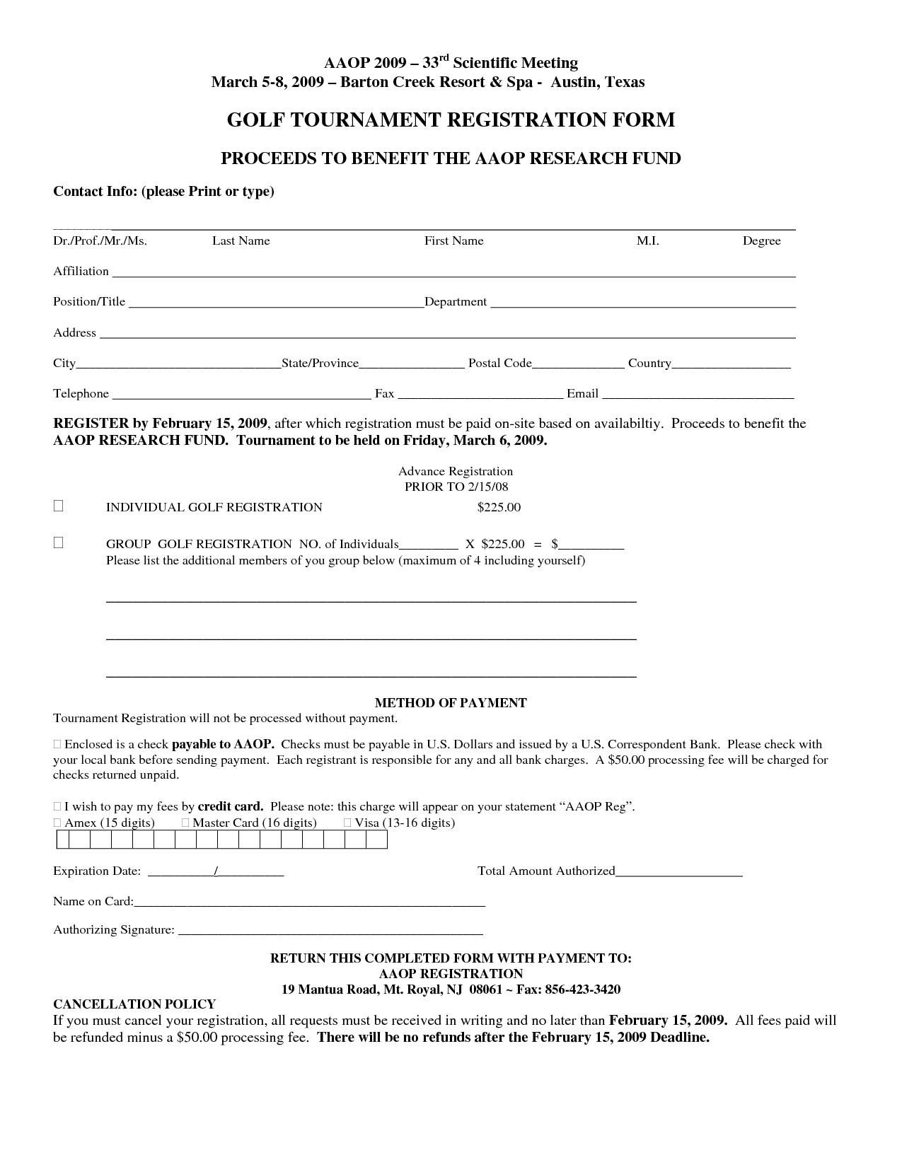 Golf tournament Sponsorship Letter Template - Free Registration form Template