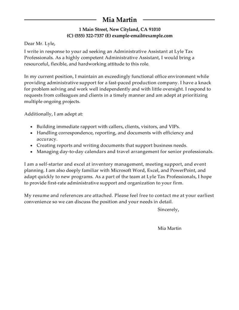 Executive Assistant Cover Letter Template Examples Letter Templates