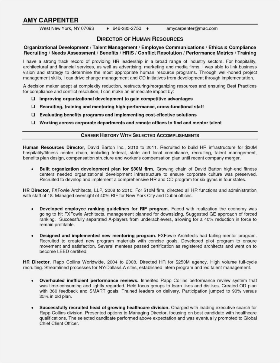 Hr Letter Template - Free Resume Cover Letter Template format Lovely Curriculum Vitae