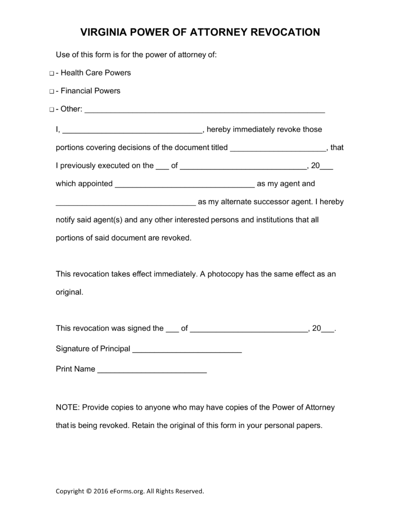 Power Of attorney Letter Template Free - Free Virginia Revocation Of Power Of attorney form Pdf