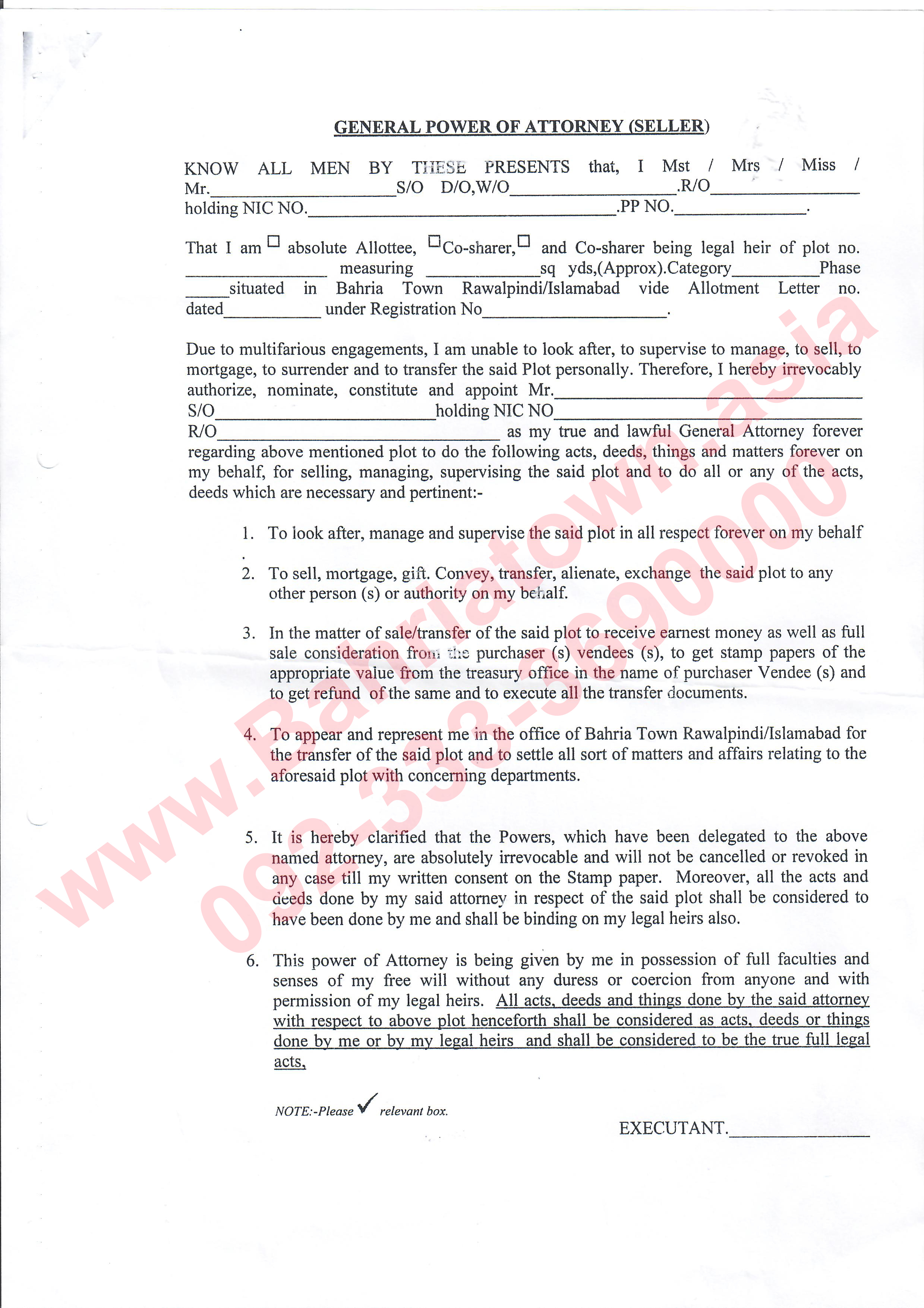 General Power Of attorney Letter Template - General Power Of attorney for Bahria town Rawalpindi islamabad