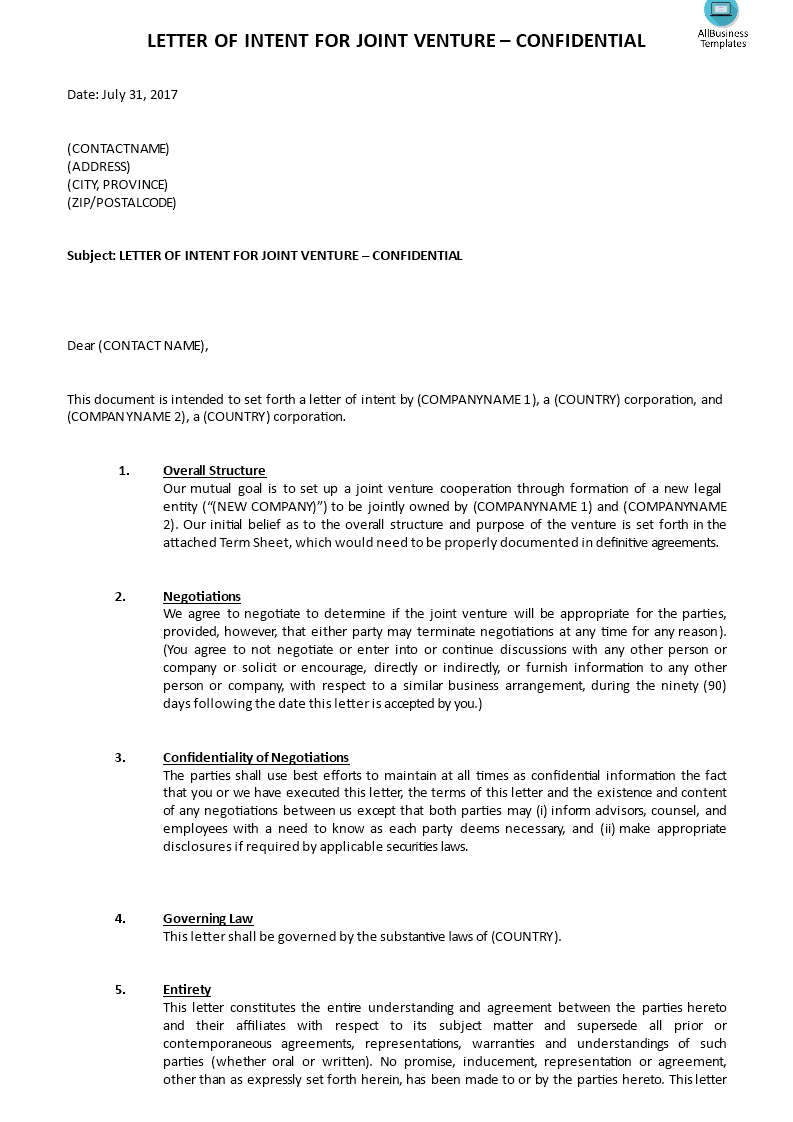 Joint Venture Letter Of Intent Template - Großzügig Lease Letter Intent Probe Ideen Bilder Für Das