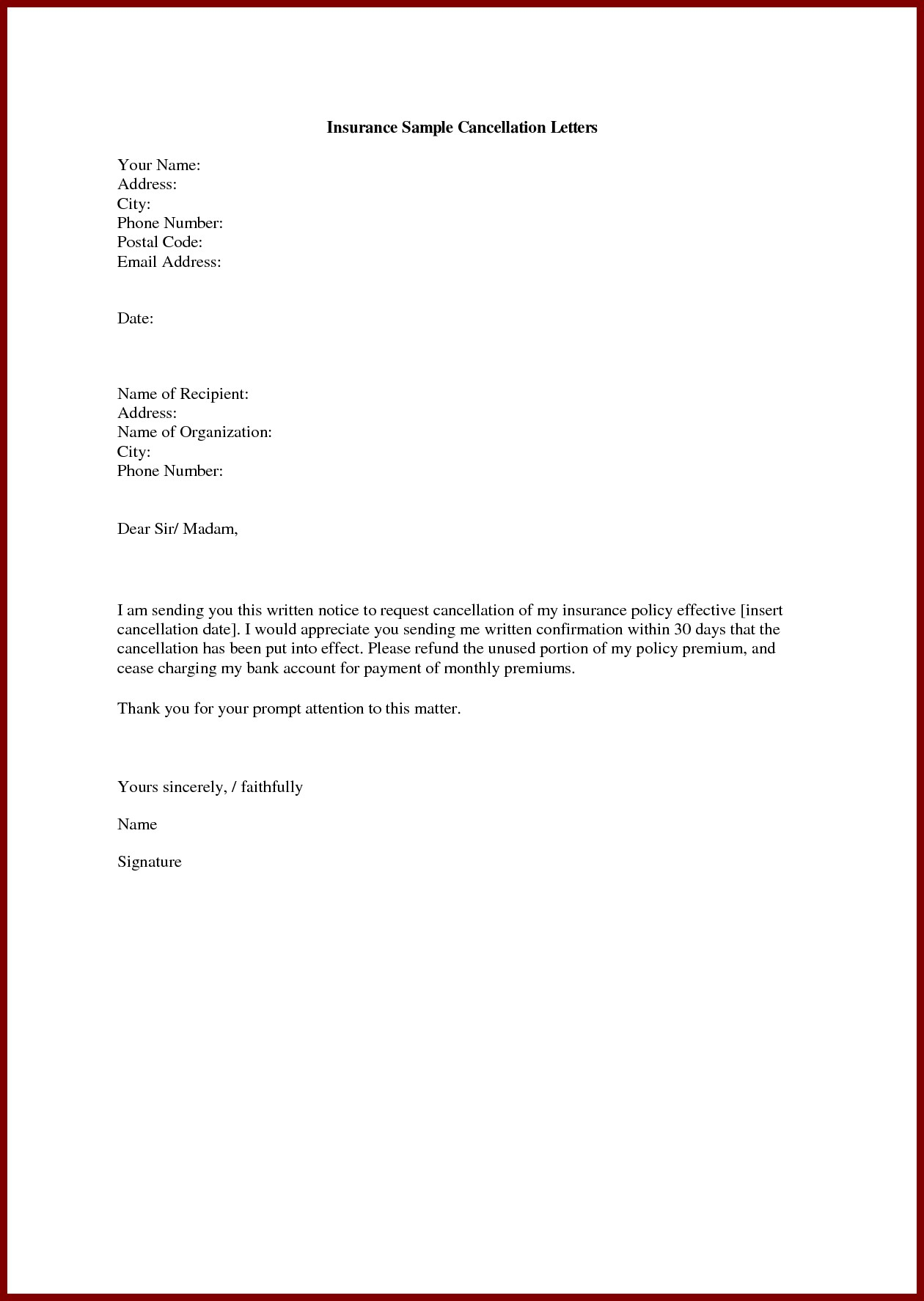Gym Membership Cancellation Letter Template Free Examples Letter