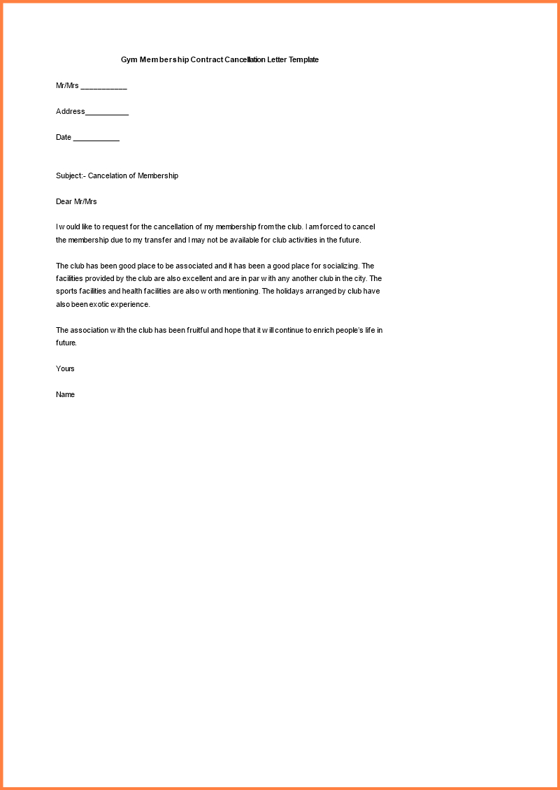 Gym Membership Cancellation Letter Template Free - Gymp Contract Template Templates form Word Agreement Sample