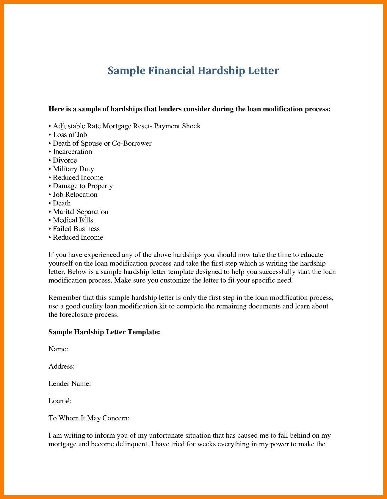 Free foreclosure Letter Template - Hardship Letter for Job Transfer Save Inspirationa Hardship Letter