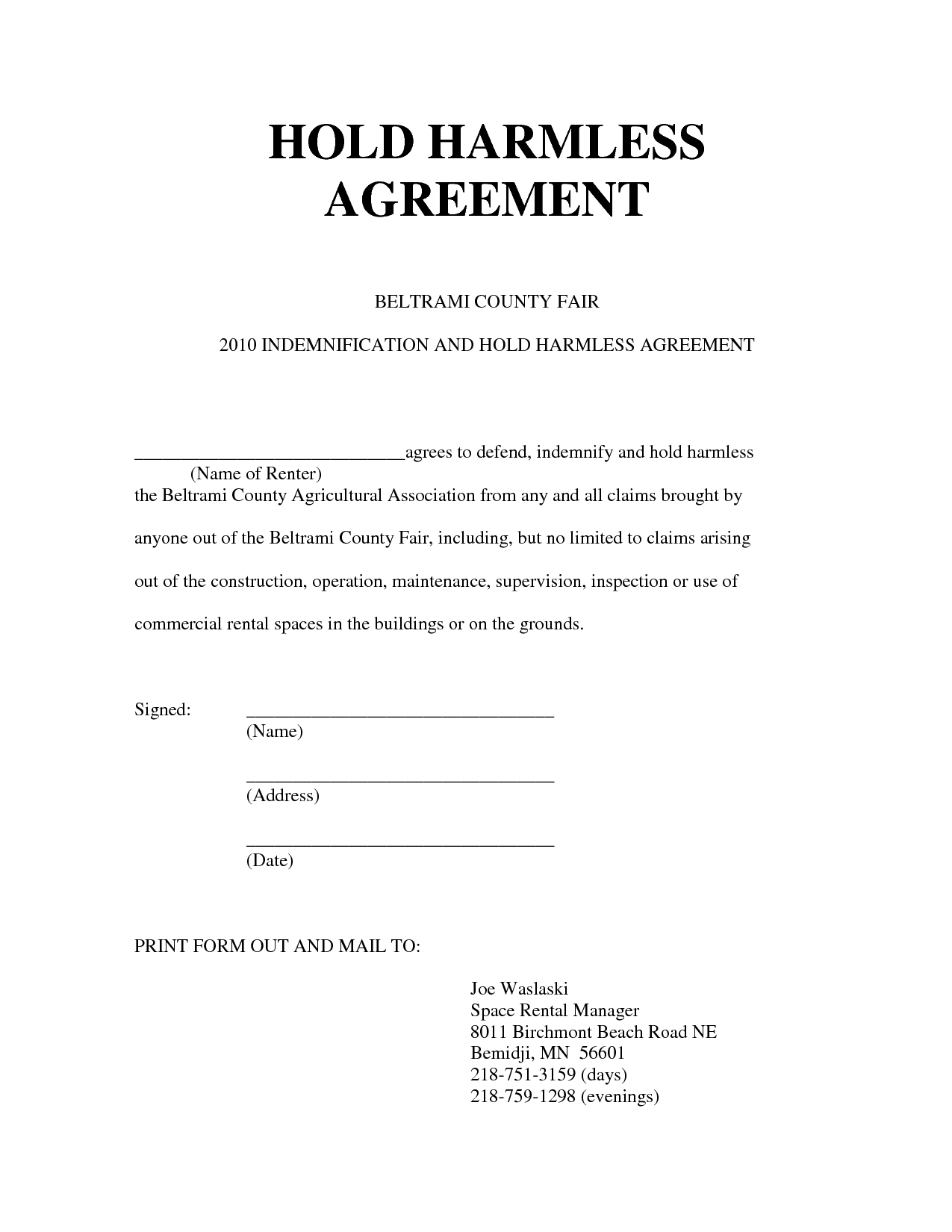 Free Hold Harmless Letter Template - Hold Harmless Agreement form