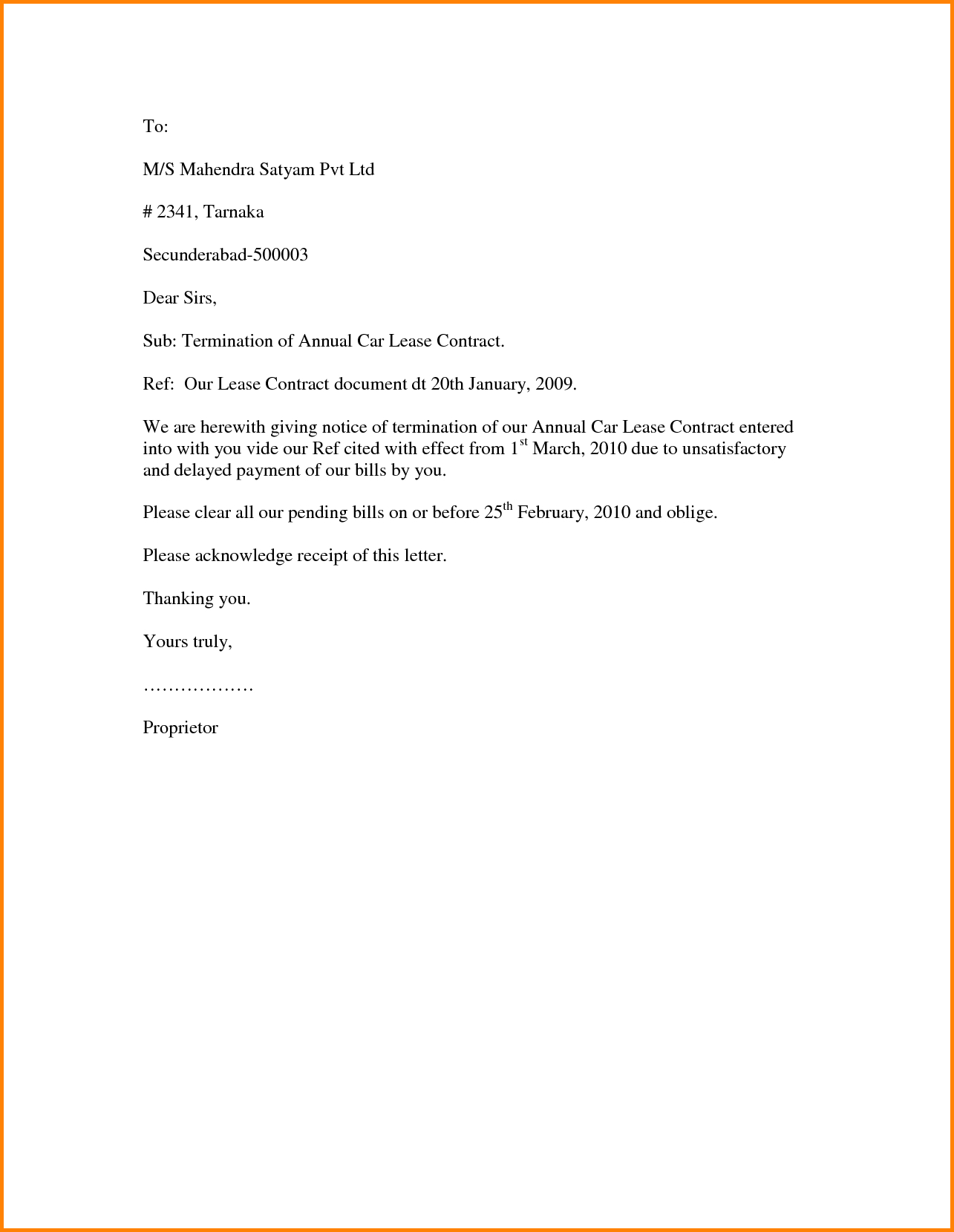 Termination Of Rental Agreement Letter Template Examples Letter