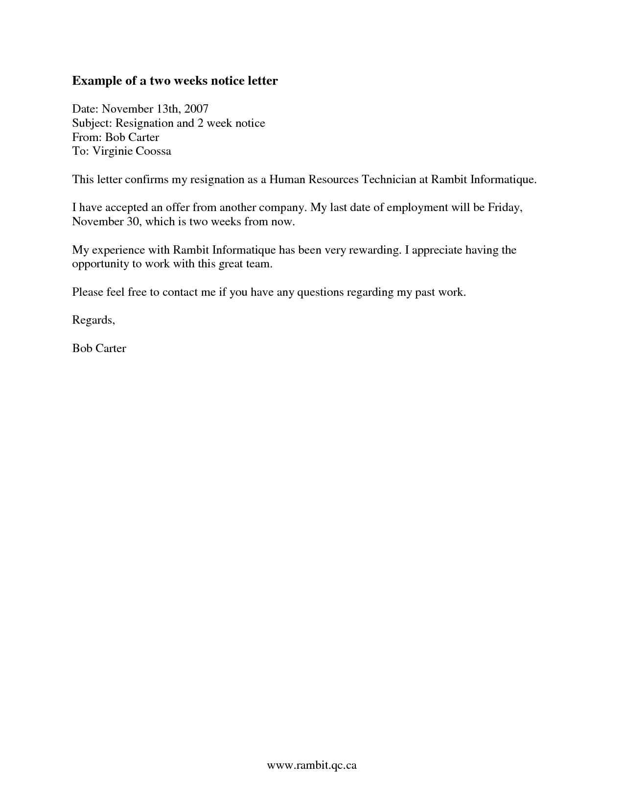 2 Week Notice Letter Template - How to Find Examples Of Two Week Notice Recipes