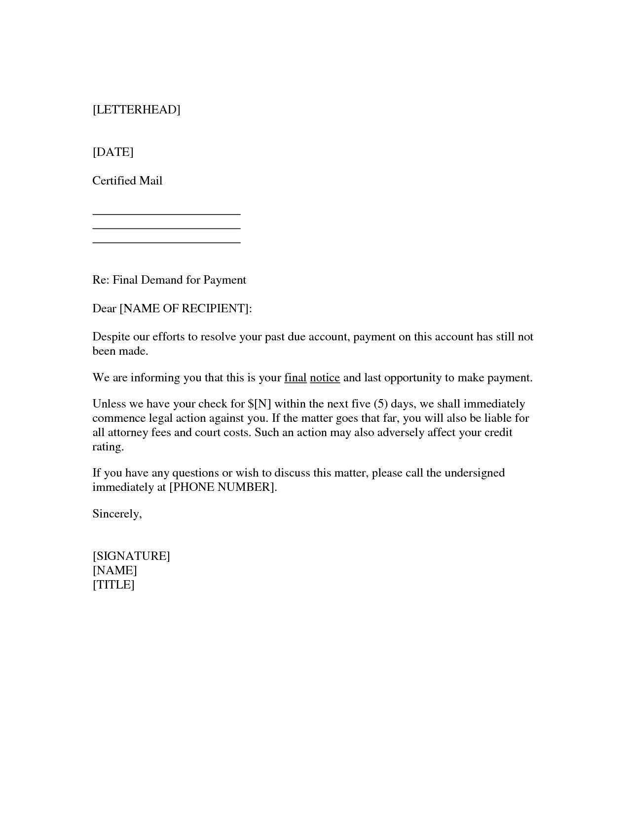 Final Demand for Payment Letter Template - How to Write A Demand for Payment Letter Letter format