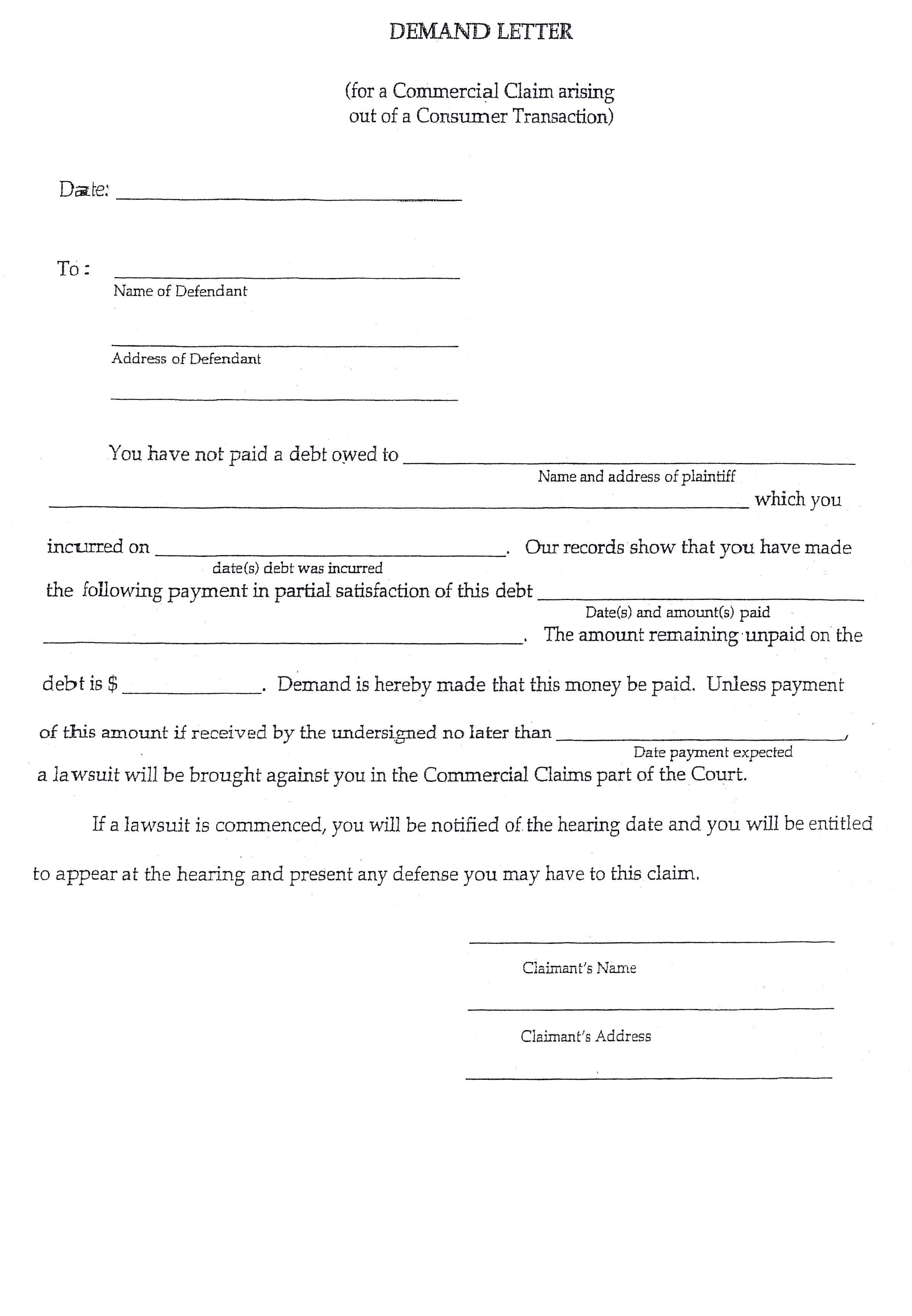 Small Claims Court Letter Of Demand Template - How to Write A Demand Letter for Small Claims Court Choice Image