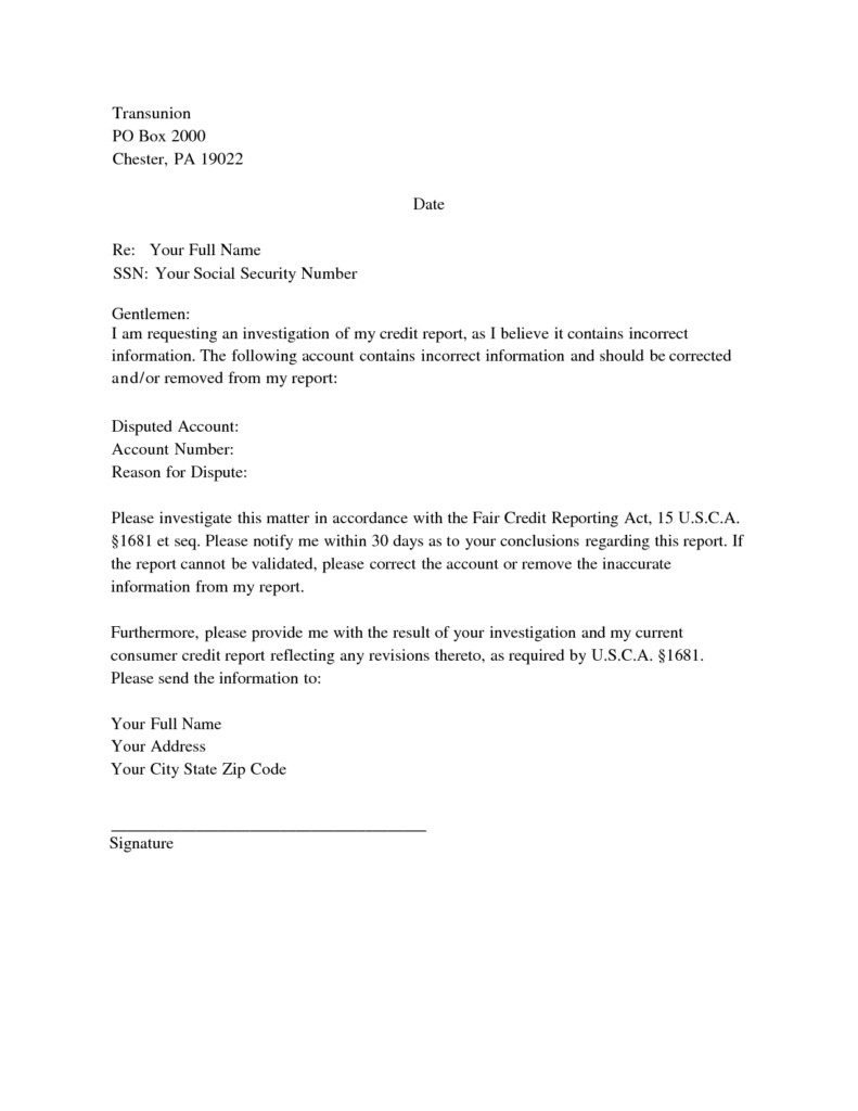 Letter Template to Dispute Credit Report - How to Write A Dispute Letter to Credit Bureau Image Collections