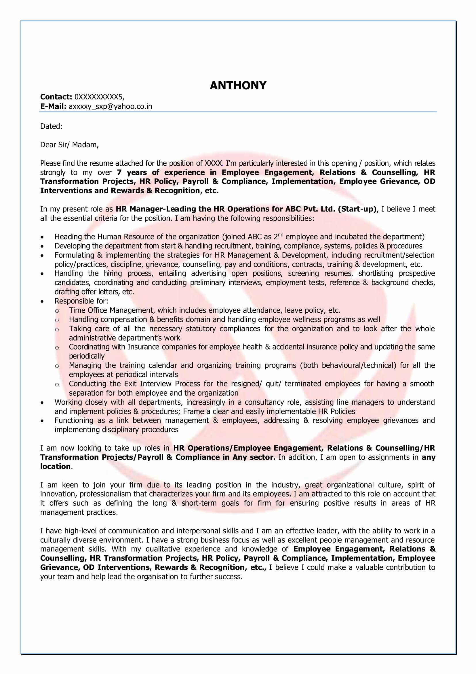 Finance Cover Letter Template - How to Write A Finance Cover Letter Luxury Hr Sample Cover Letter