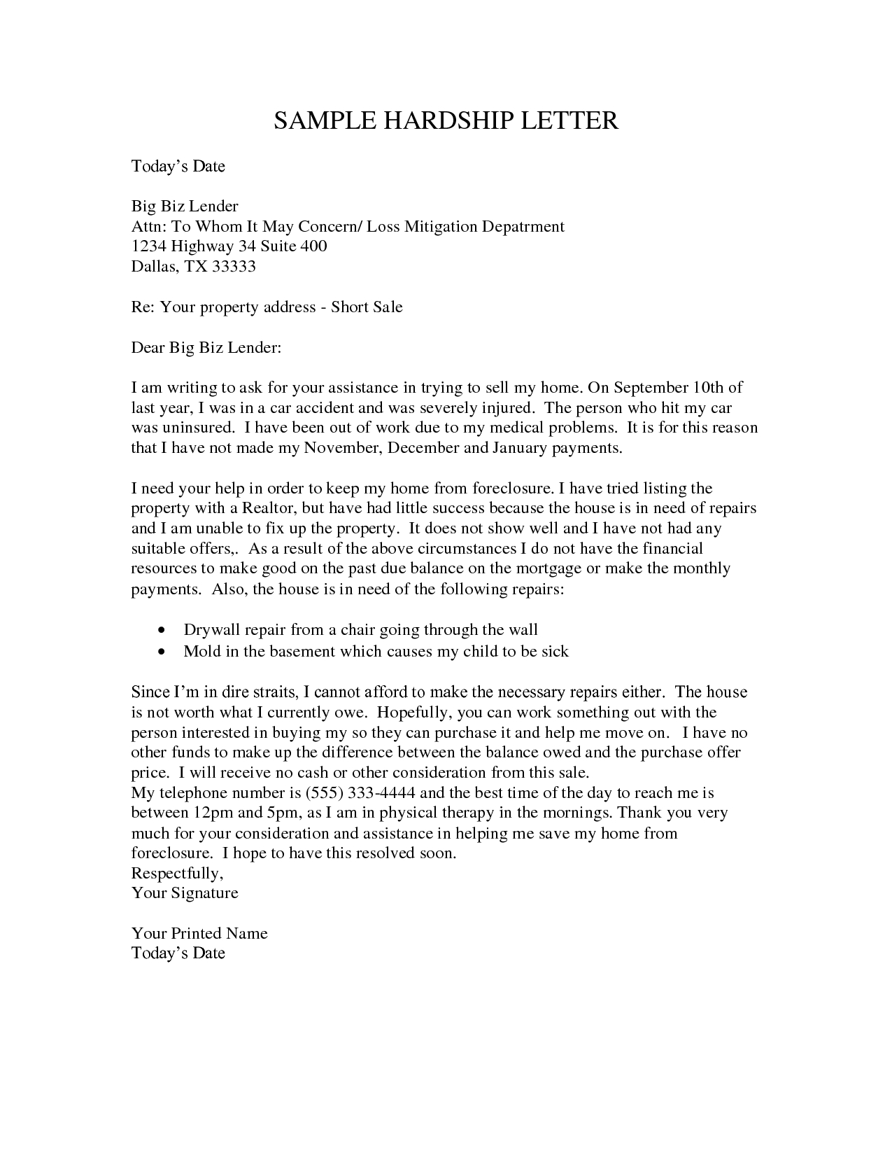 Immigration Hardship Letter Template - How to Write A Hardship Letter for A Short Sale Gallery Letter