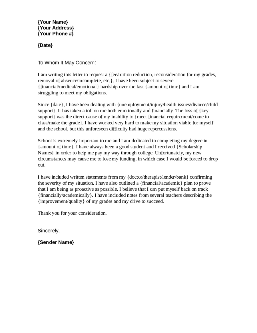 Mortgage Hardship Letter Template - How to Write A Hardship Letter for School Letter format