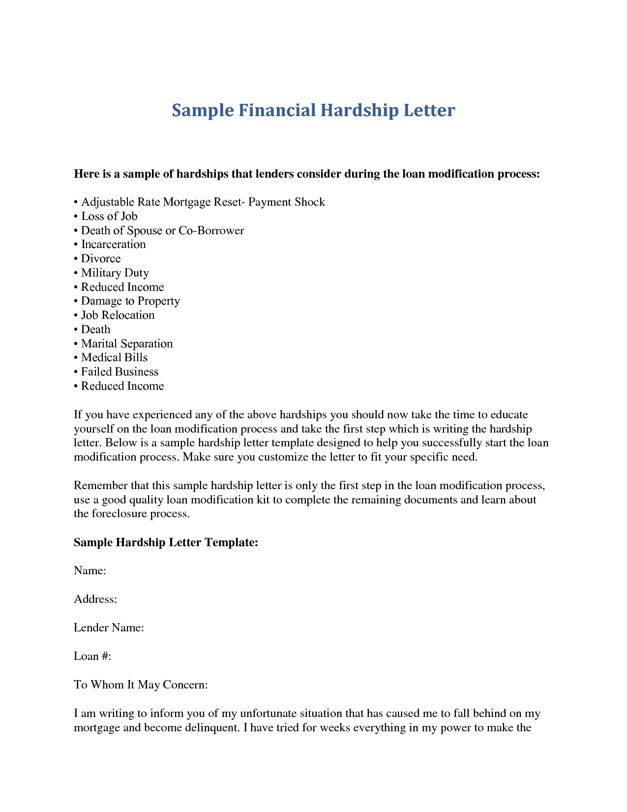 401k Hardship Letter Template - How to Write A Hardship Letter to A Mortgage Pany Letter