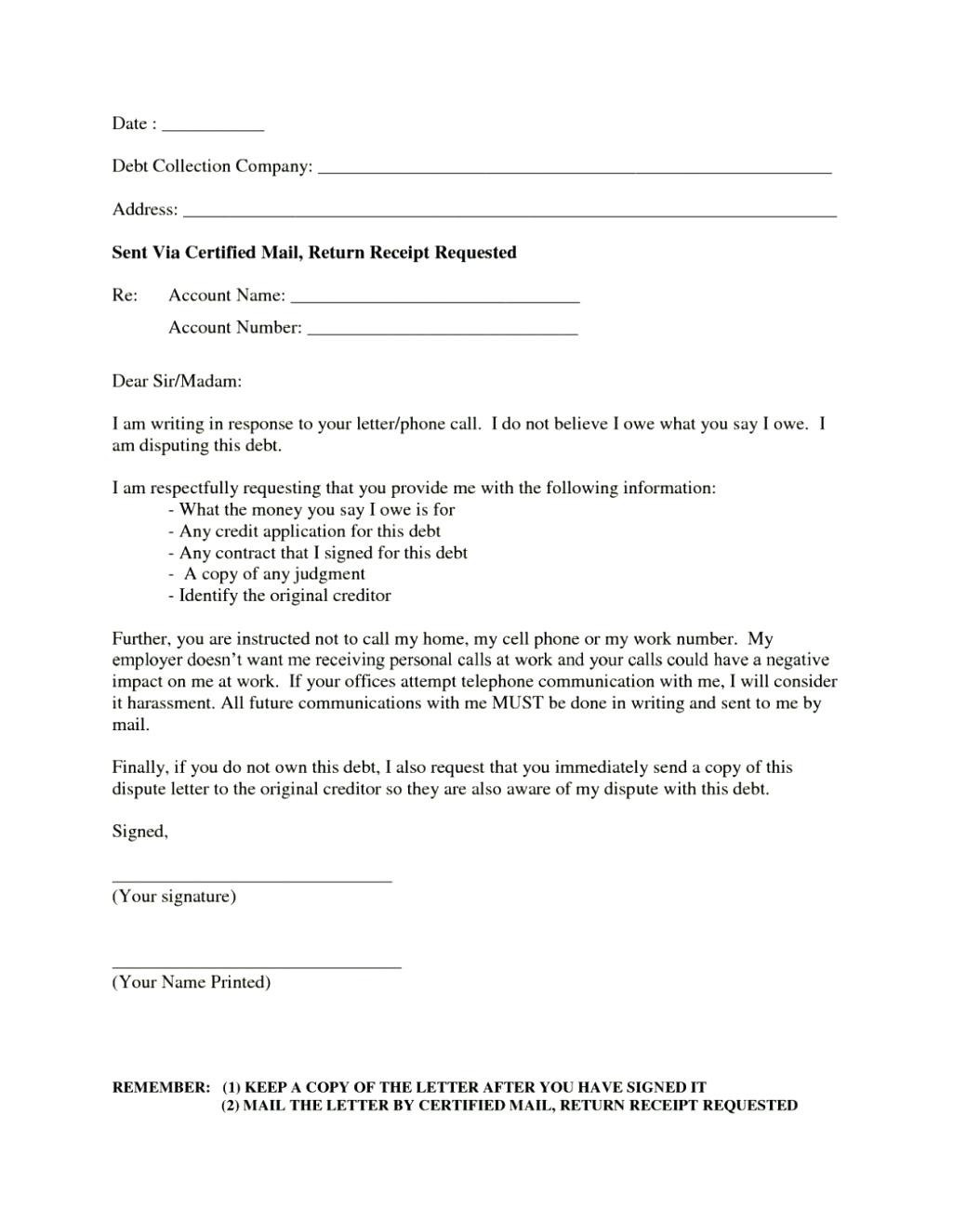 debt harassment template letter example-Sample debt collection dispute letter report template example good sample debt collection dispute letter report template 10-i