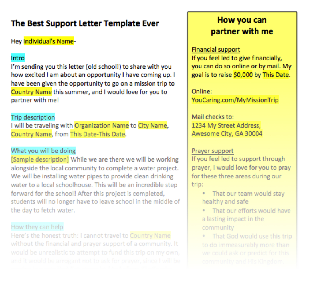 Mission Trip Donation Letter Template - How to Write A Support Letter for A Mission Trip Letter
