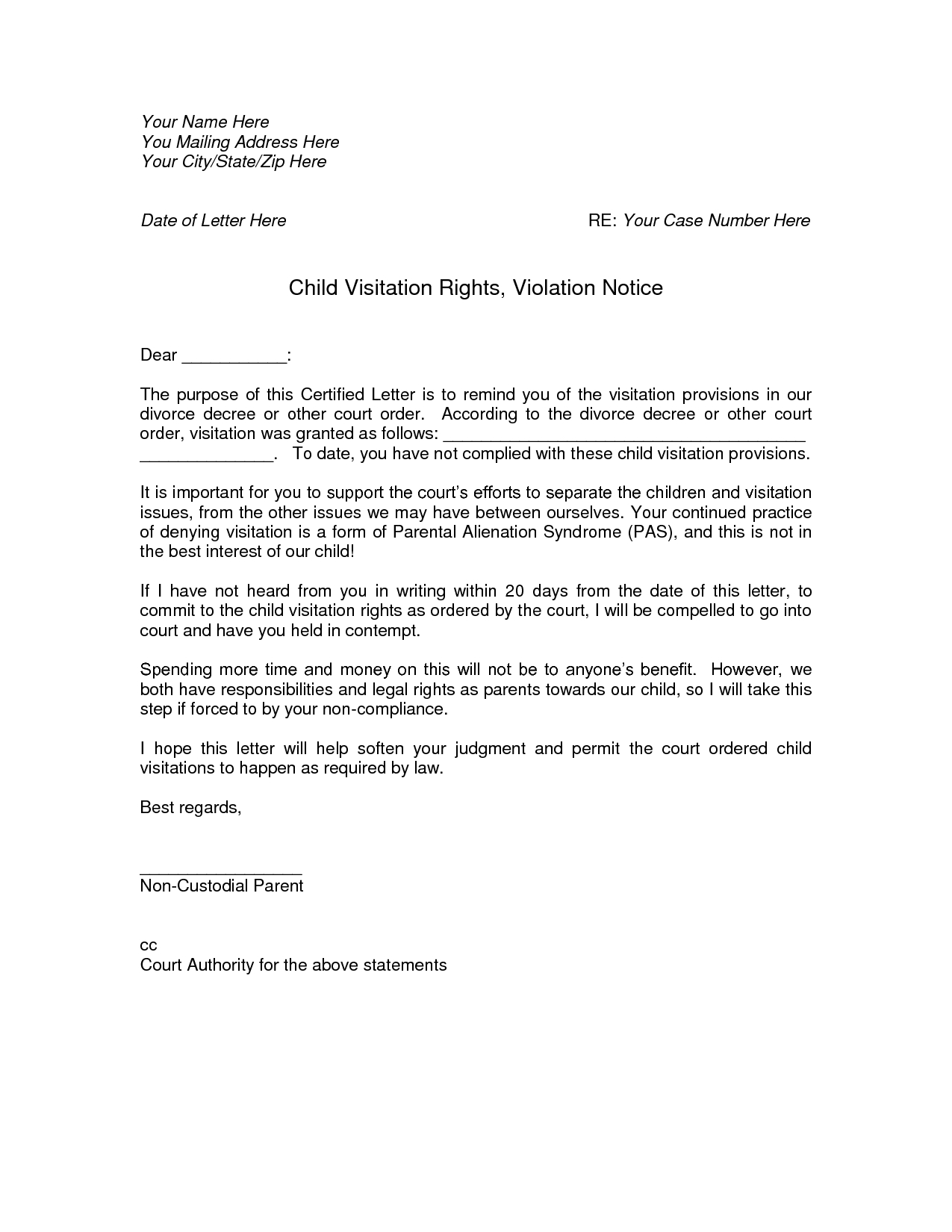 Child Custody Letter Template - How to Write A Visitation Letter Letter format formal Sample