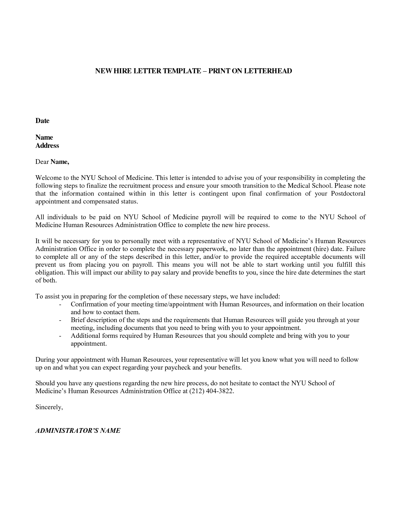 new hire welcome letter template