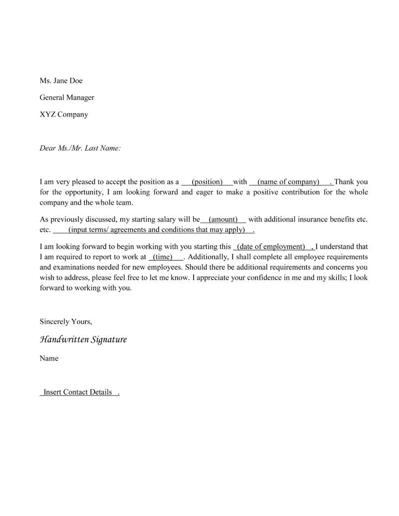 Job Offer Acceptance Letter Template - How to Write An Acceptance Letter Pinterest