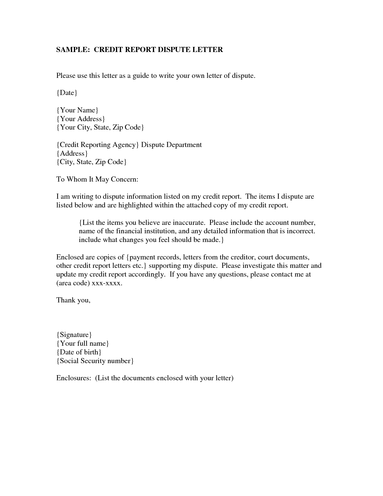 Credit Dispute Letter Template - How to Write Credit Dispute Letter Image Collections Letter format