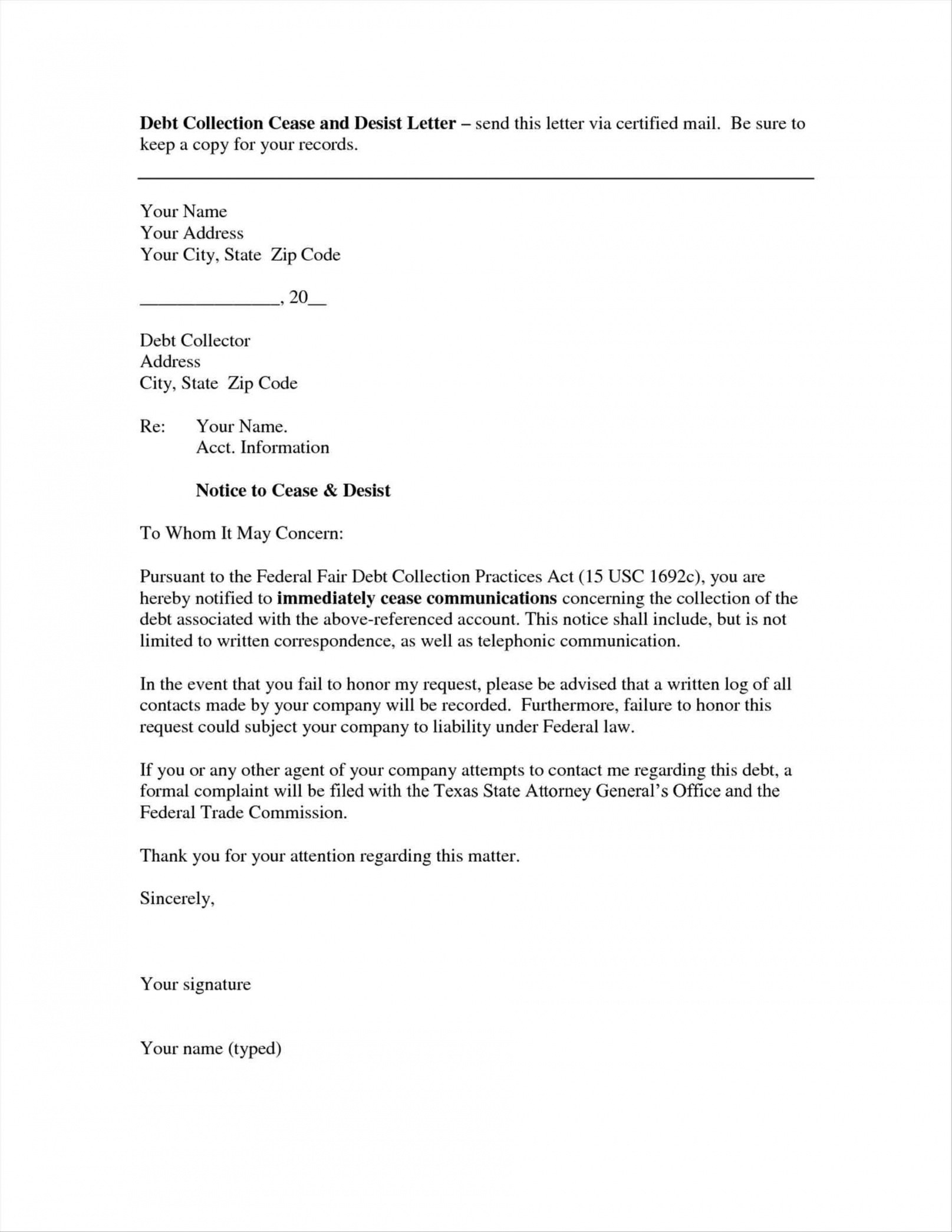 Creditor cease and desist letter template examples letter templates creditor cease and desist letter template how to write debt collection letter letter format formal spiritdancerdesigns Gallery
