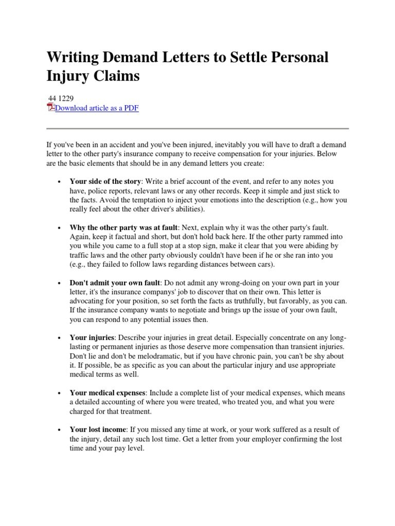 personal injury demand letter personal injury demand letter template examples letter 23939