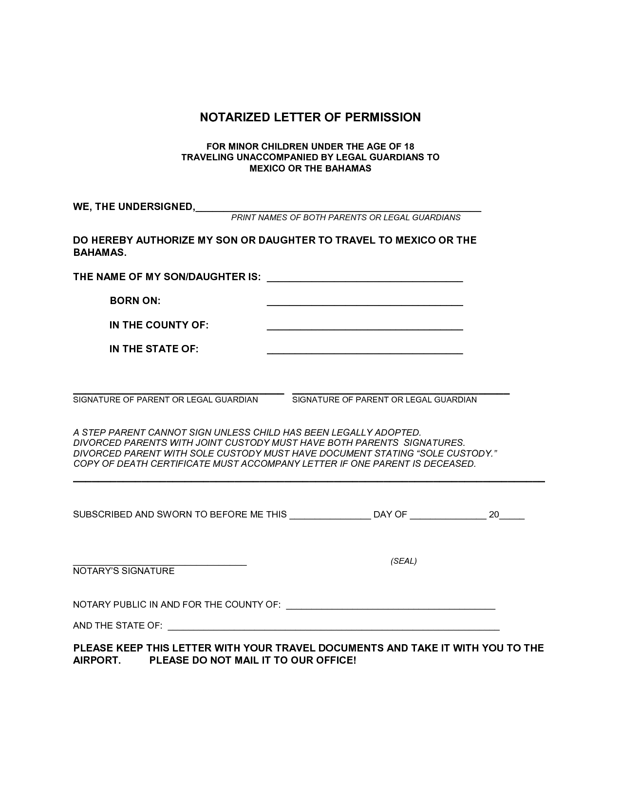 Notarized Letter Template for Child Travel - How to Write Notarized Letter Letter format formal Sample
