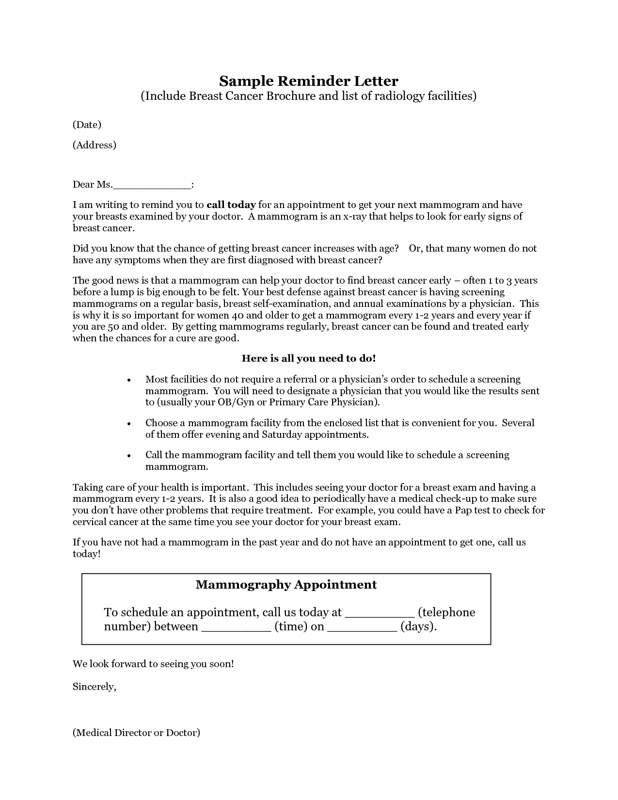 Appointment Reminder Letter Template Medical Collection | Letter ...