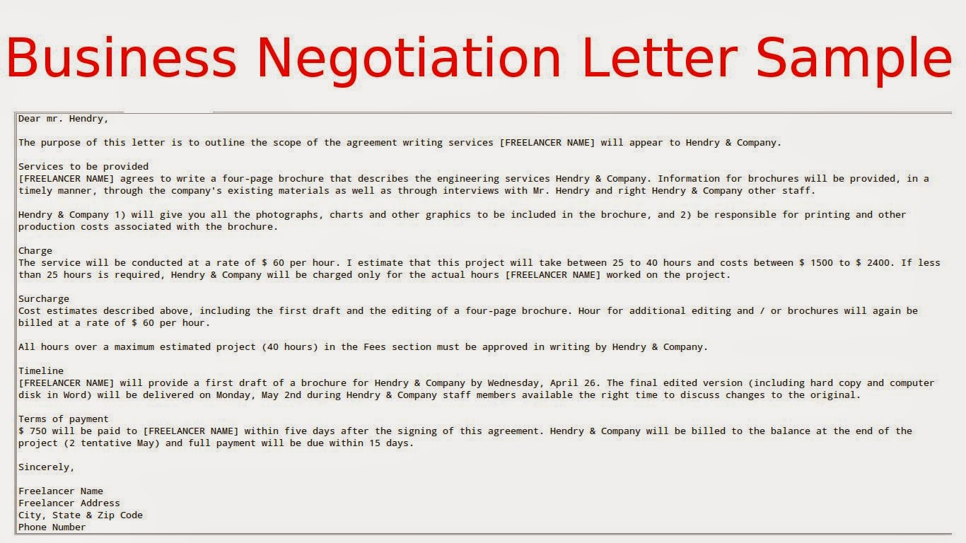 Contract Negotiation Letter Template Samples | Letter Templates