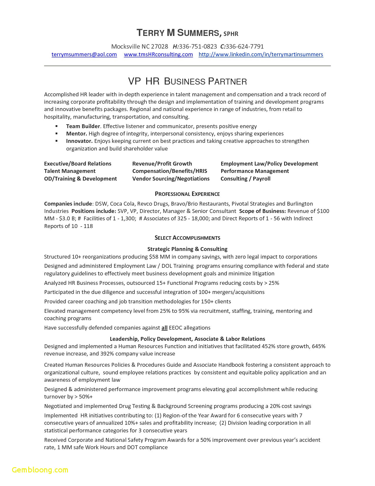 Cover Letter Template for Human Resources - Human Resources Sample Resume Download Cover Letter Template Hr Copy