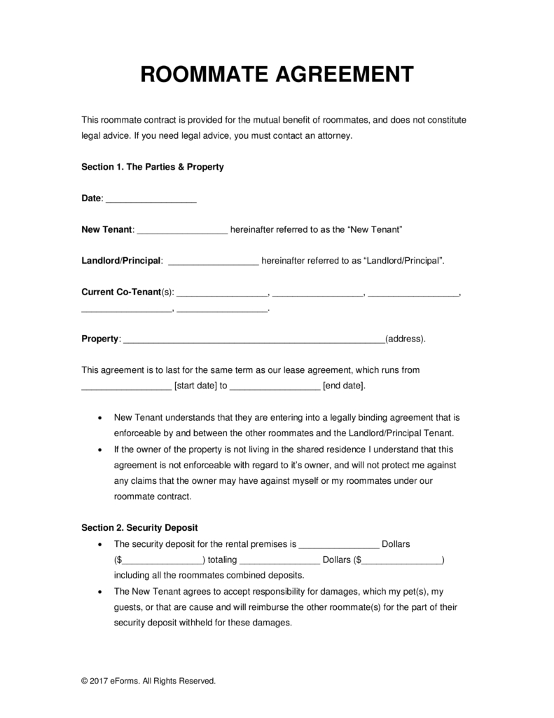 Sublet Letter Template - Image Result for College Roommate Agreement Template