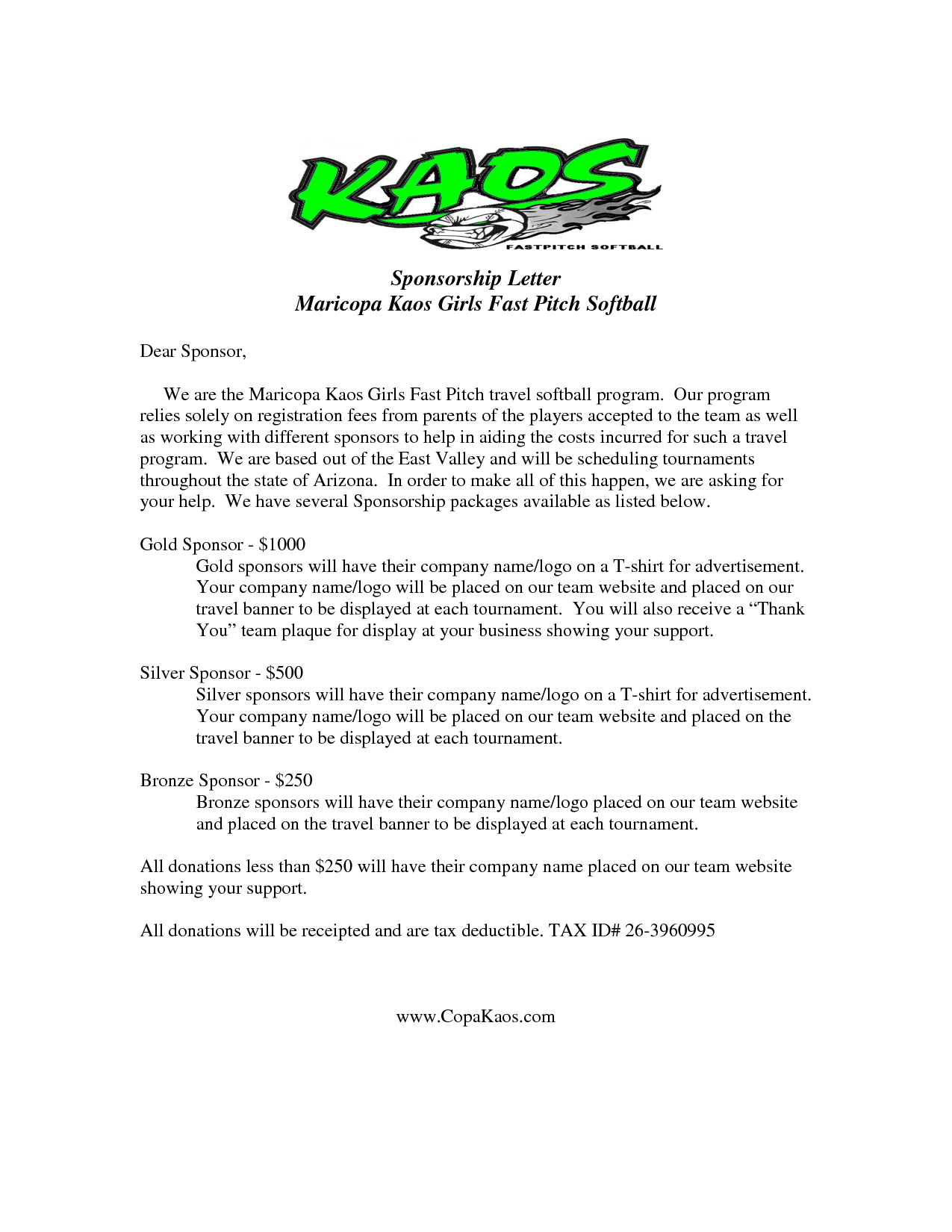 Youth Football Sponsorship Letter Template - Image Result for Sample Sponsor Request Letter Donation
