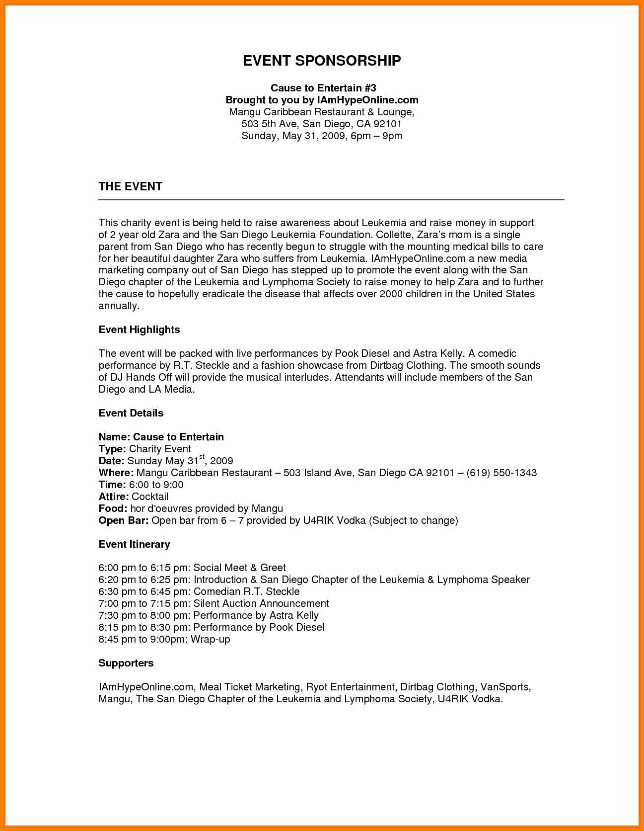 Event Sponsorship Letter Template