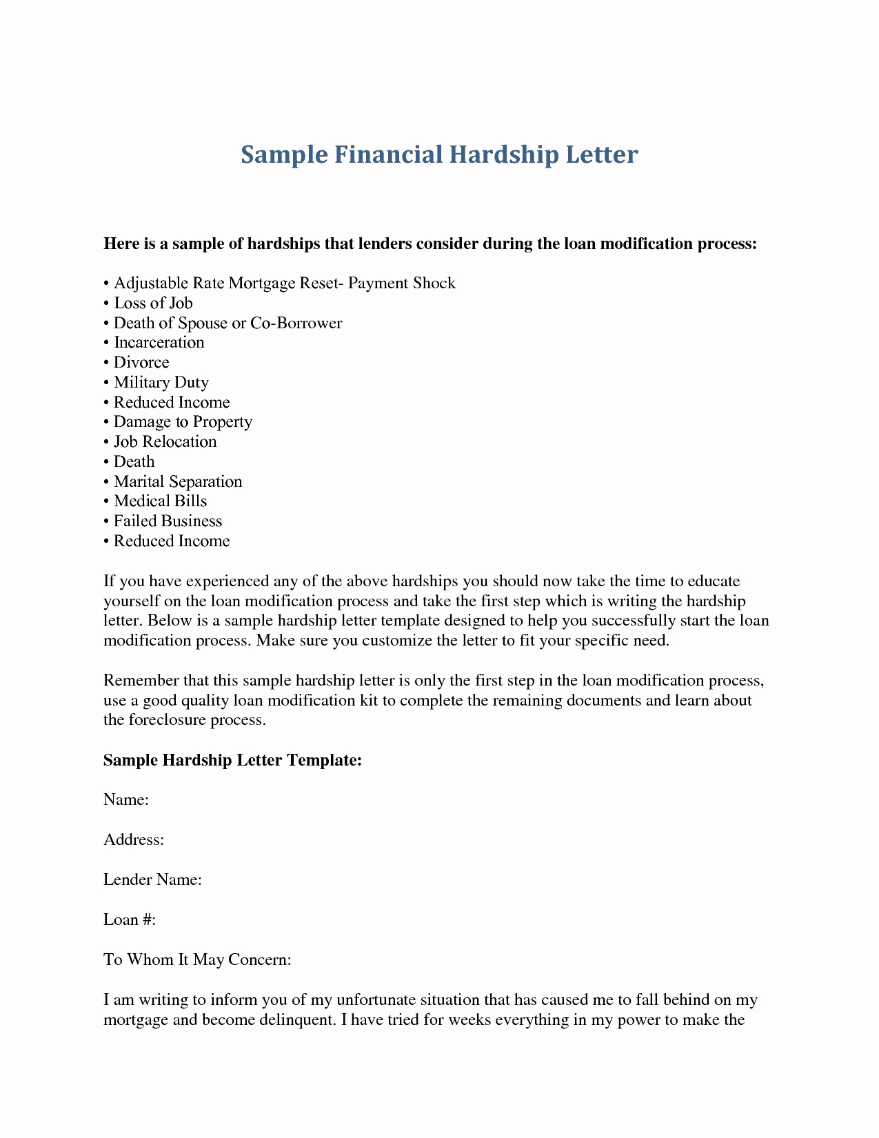 Mortgage hardship letter template collection letter templates mortgage hardship letter template expocarfo Images