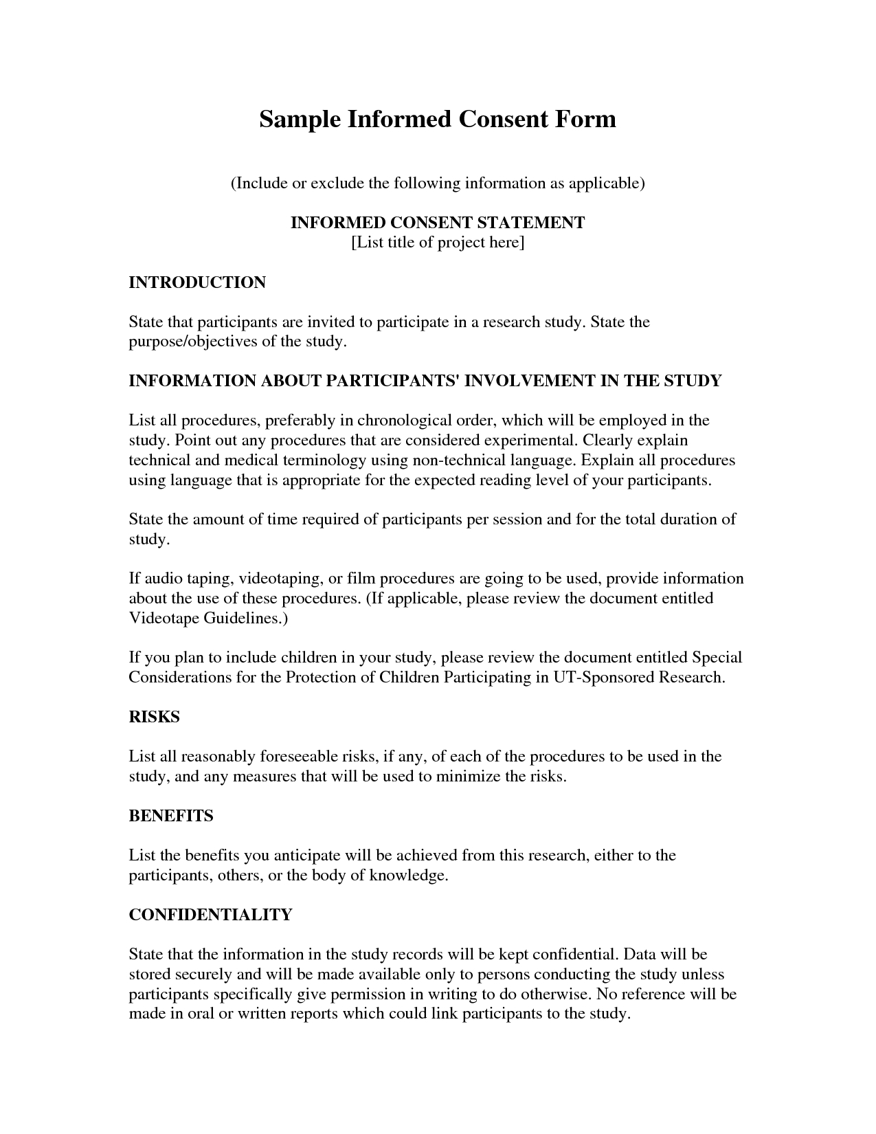 Medical Consent Letter Template - Informed Consent Example Example Cover Letter for Resume