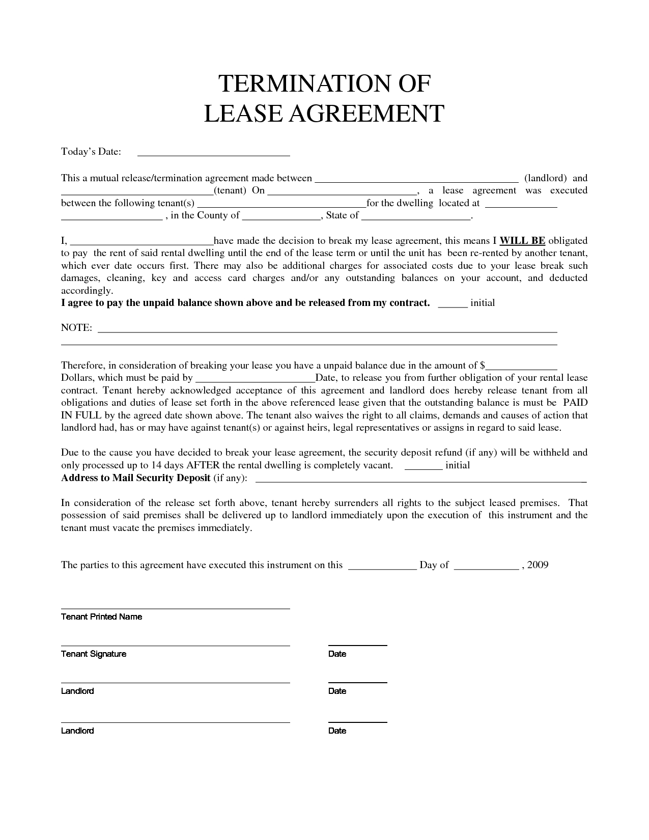Lease Termination Letter to Tenant Template - Inspirational Early Lease Termination Letter Your Template