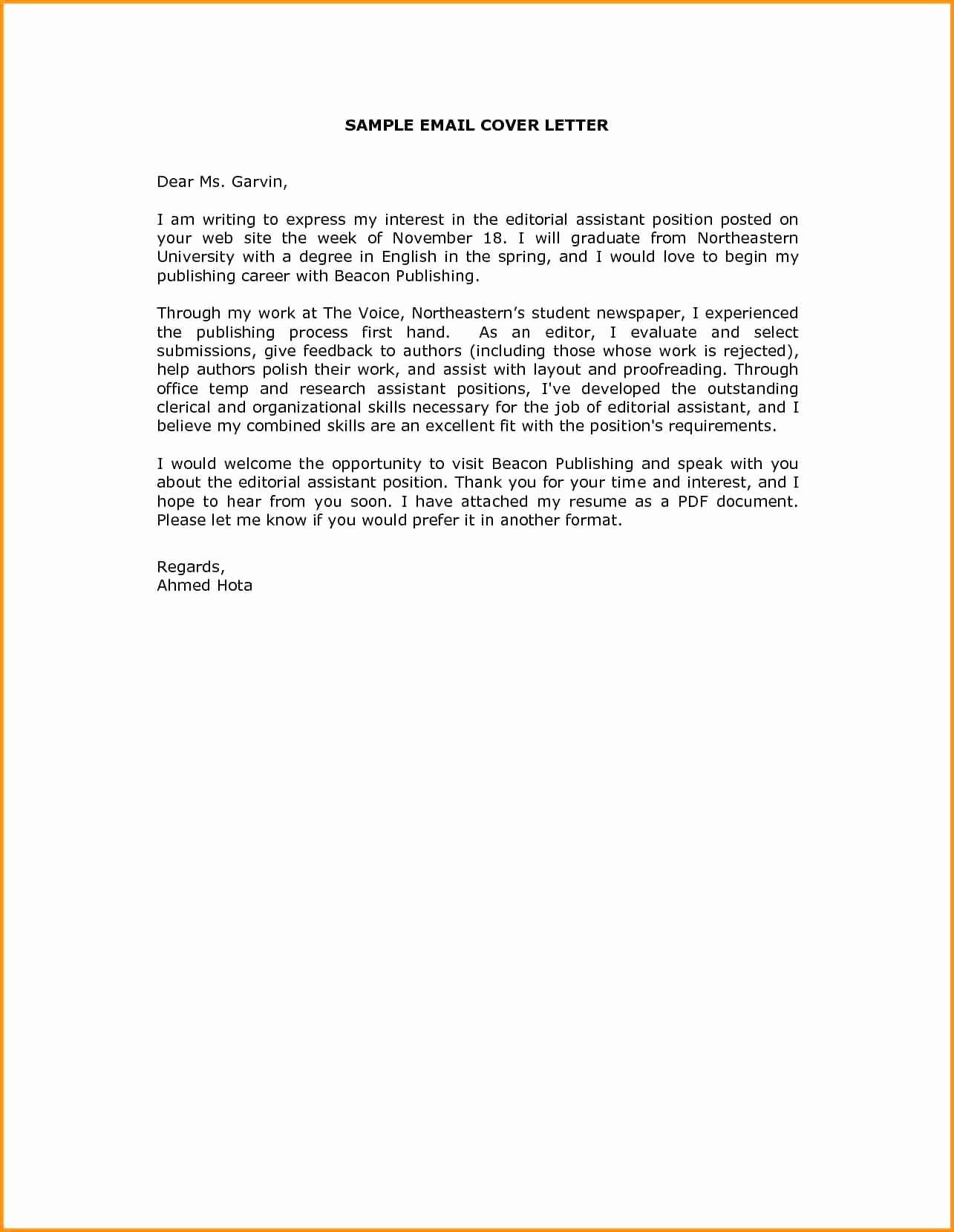 Submittal Cover Letter Template - Inspirational Email Cover Letter Template