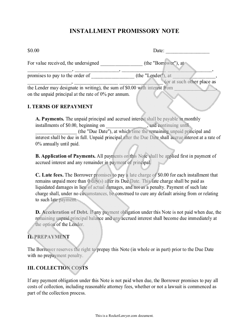 Promissory Letter Template - Installment Promissory Note Promissory Note with Installment
