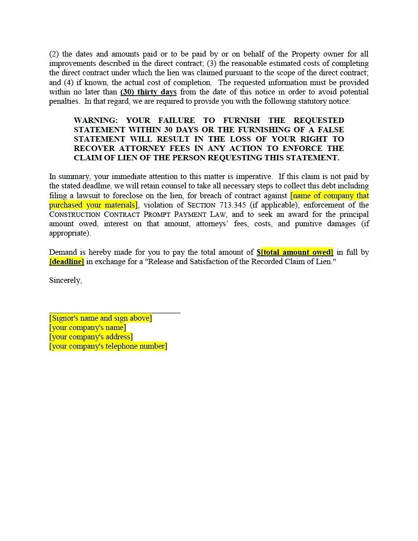 Notice Of Lien Letter Template - Intent to Lien Letter Florida Concept Template Notice