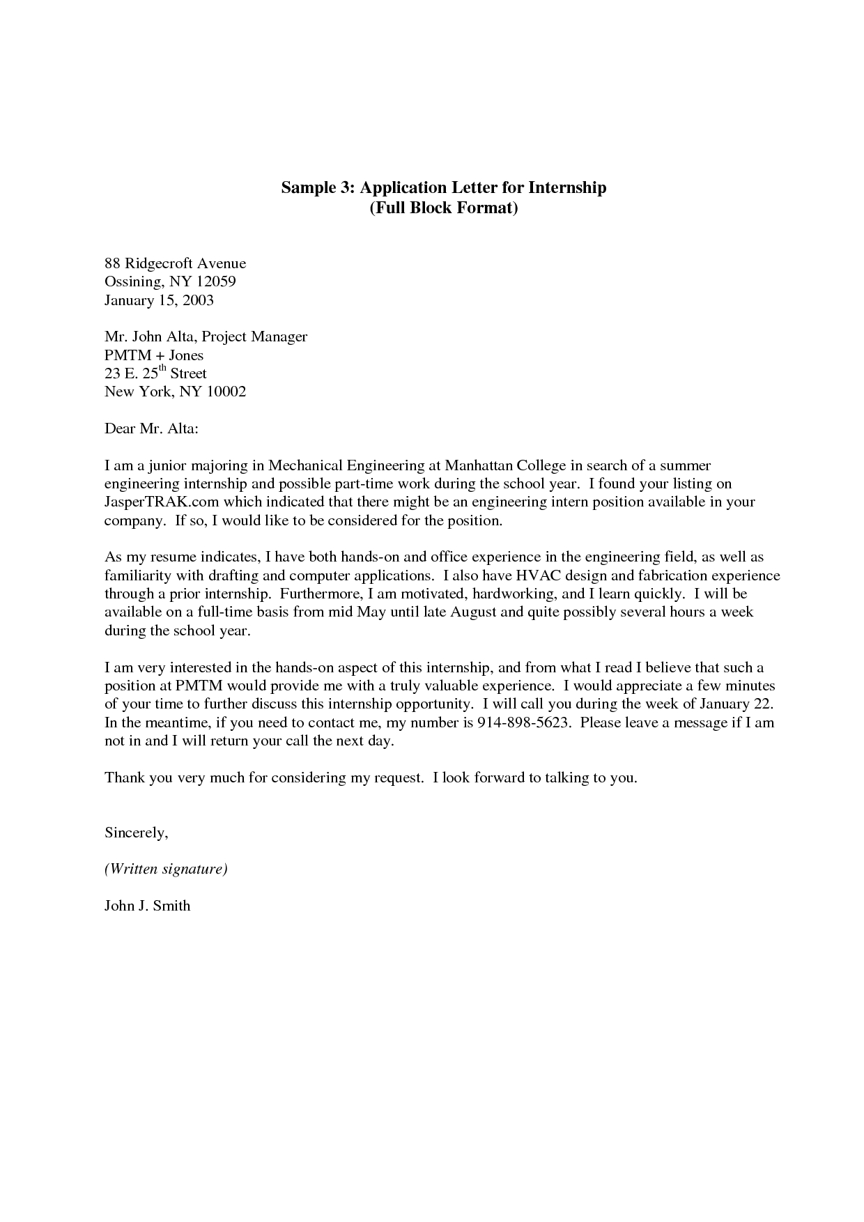 Modified Block Letter Template - Internship Application Letter Here is A Sample Cover Letter for