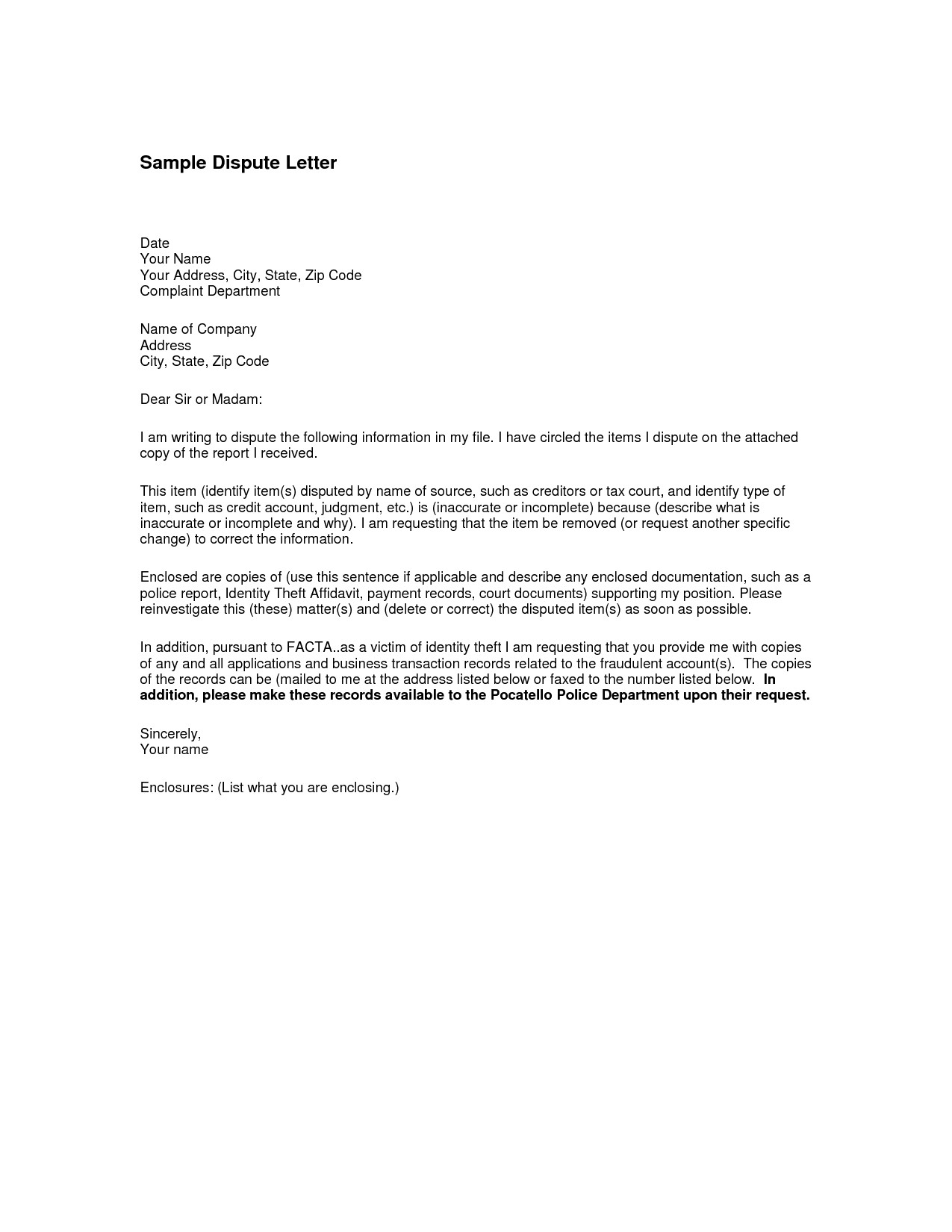 Credit Dispute Letter Template - Invoice Dispute Letter Awesome How to Write An Excellent Resume Rfp