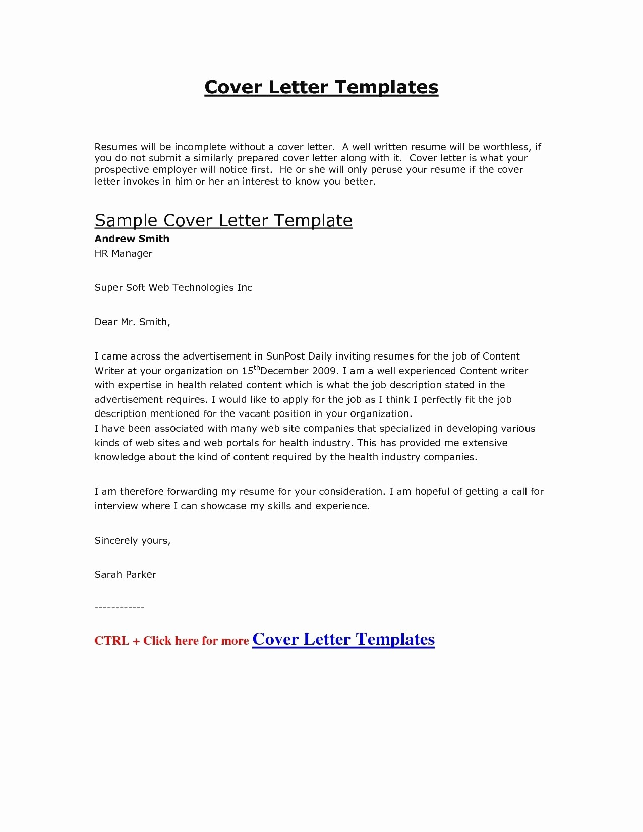 Perfect Formal Cover Letter Template