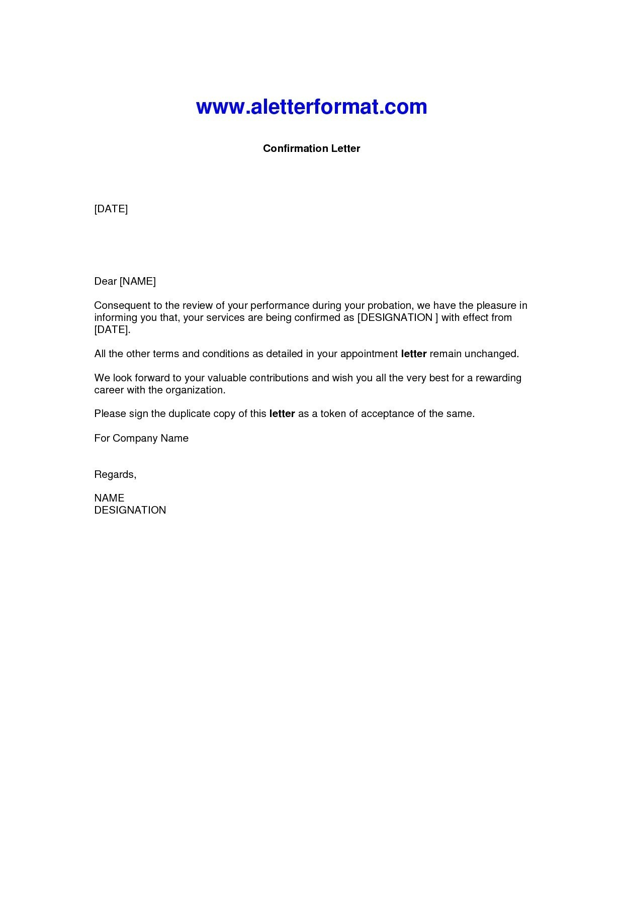 Confirmation Letter Template - Job Confirmation Letter New Confirmation Letter format Word Document