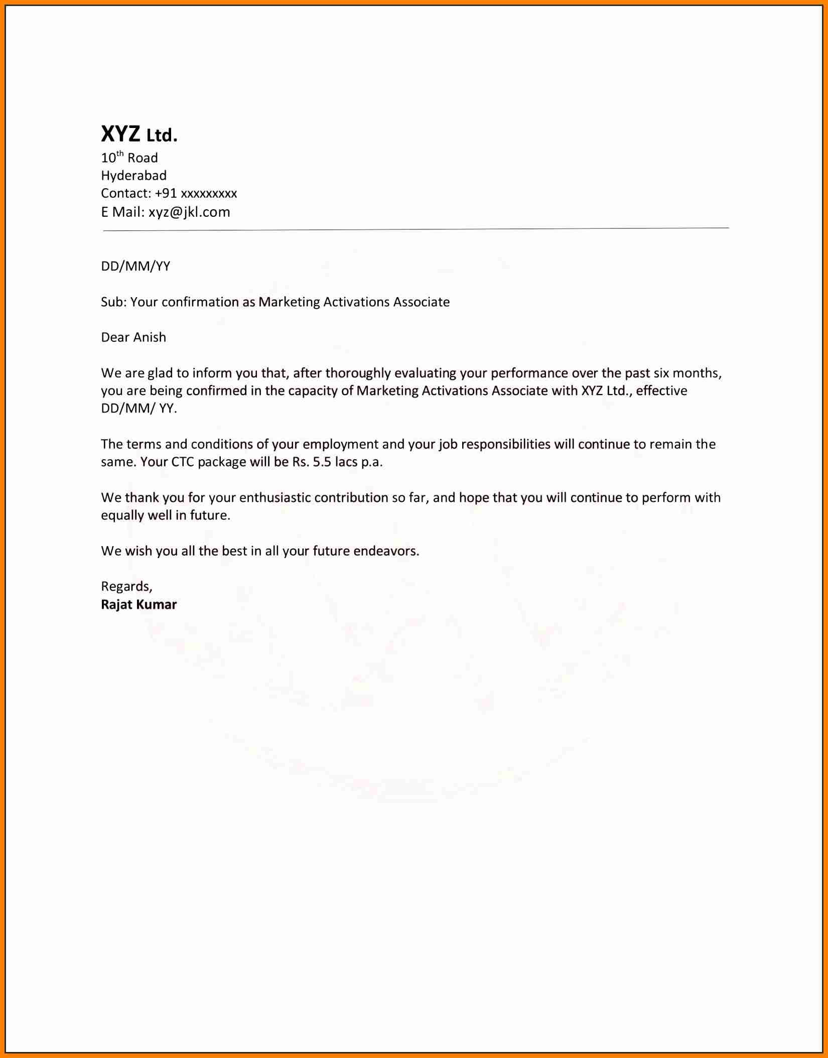 Employment Confirmation Letter Template Doc - Job Confirmation Letter New Confirmation Letter format Word Document