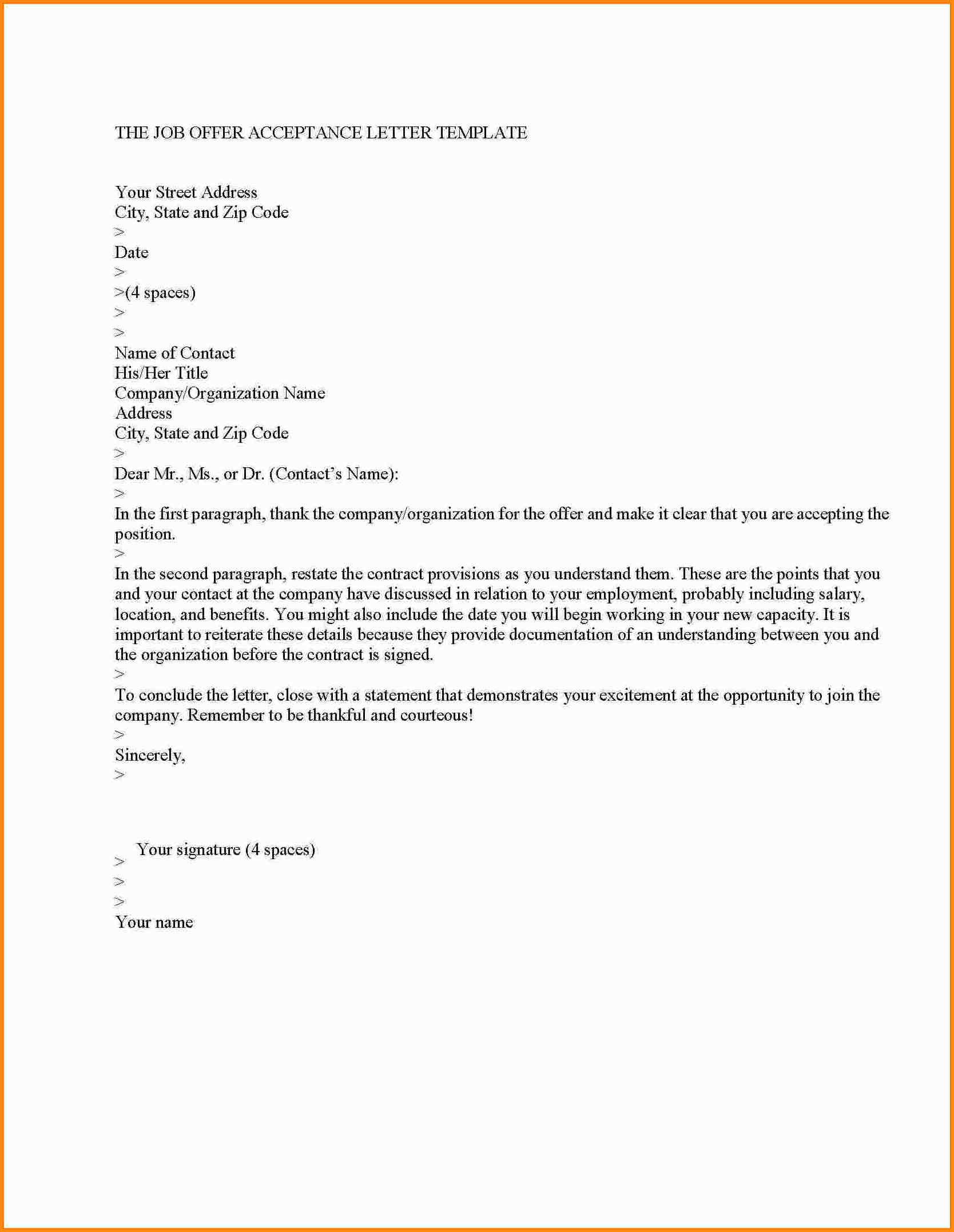 Business Proposal Acceptance Letter Template - Job Contract Acceptance Letter Valid Template – Job Acceptance