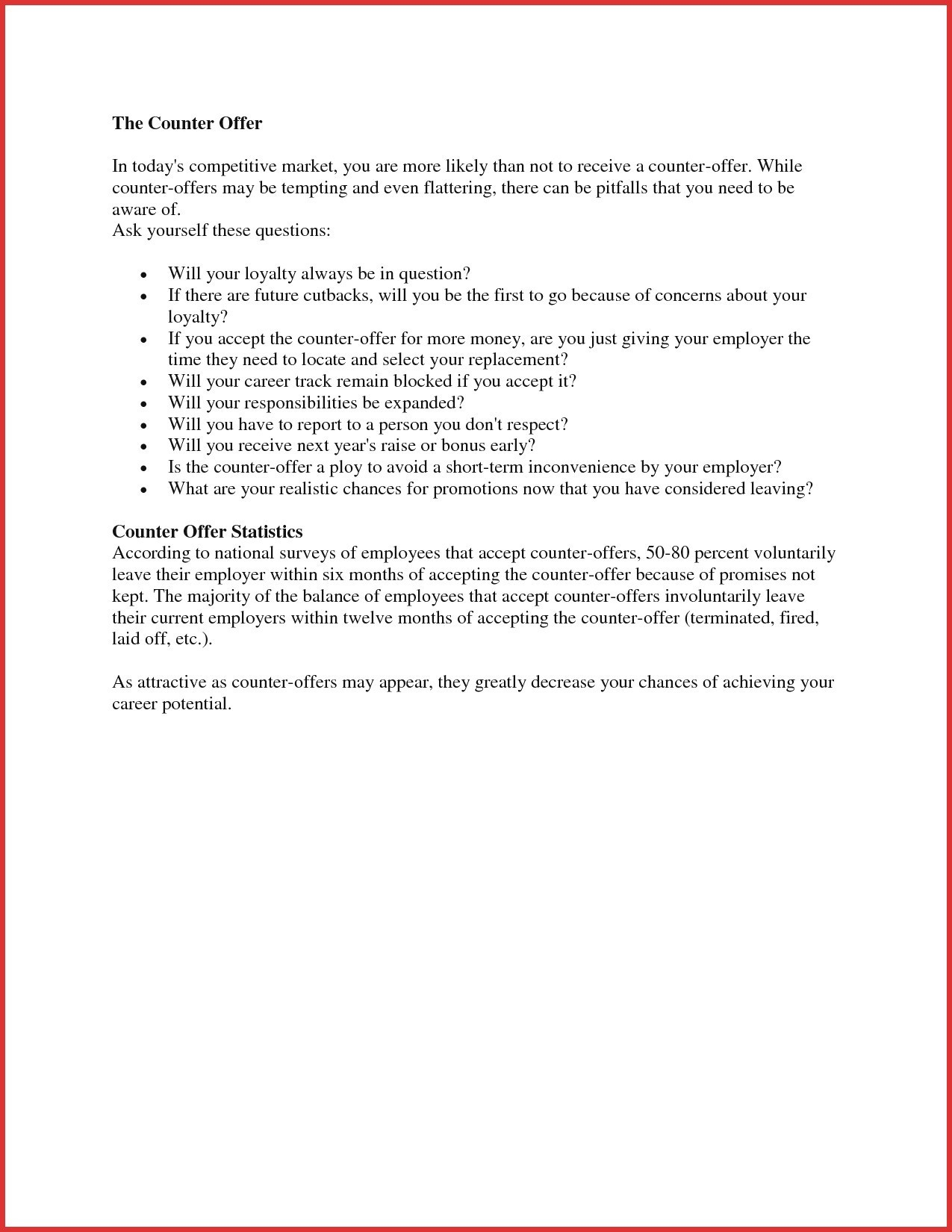 Employment Counter Offer Letter Template Samples Letter Templates